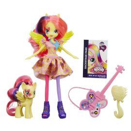 "Кукла ""Rainbow Rocks"" Девушки Эквестрии - Флатершай с фигуркой пони, фото 1"